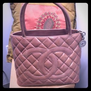 🇨🇮CHANEL 🇮🇹Medallion Pink pearl bronze tote
