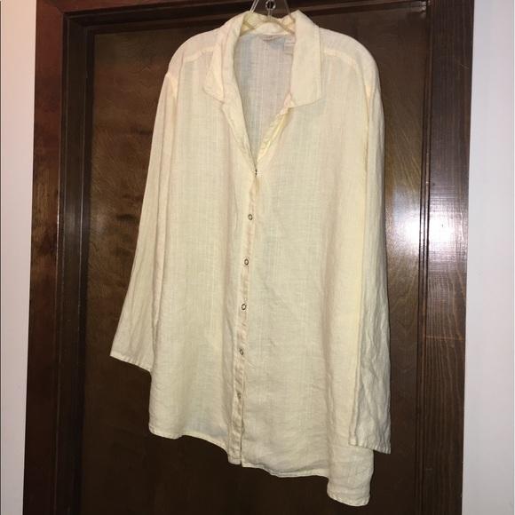 J Jill Tops J Jill Yellow Long Sleeve Linen Blouse Tunic Poshmark