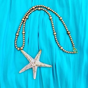 Handmade real Starfish ⭐️ Glass Beads necklace 📿