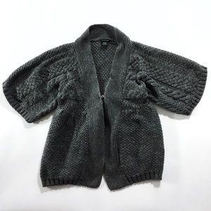 Calvin Klein gray grey metallic 3/4 sleeve sweater