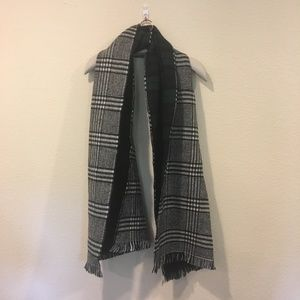 Reversible black and white/ green plaid scarf