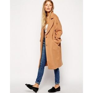 NWT ASOS camel color collared long coat