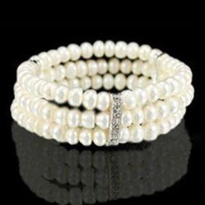 Layered White Pearl Statement Bracelet