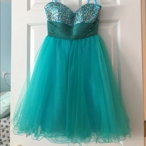 Sean Couture Blue Strapless Sequin Dress