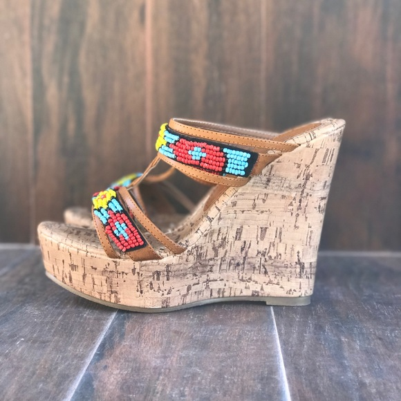 754a7deddd Boutique Shoes | Beaded Boho Backless Cork Wedge Sandal | Poshmark