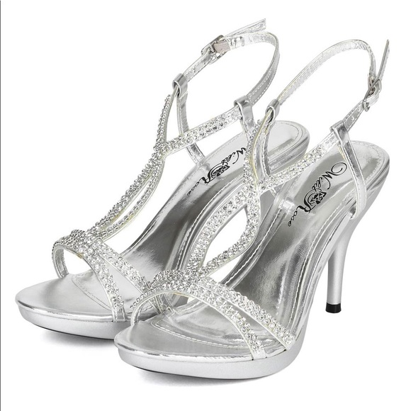exclusive deals closer at purchase cheap Wild Rose Shoes | Wildrose Sparkly Silver Rhinestone Heels | Poshmark