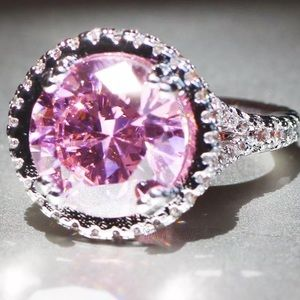 Round Halo Pink Sapphire Silver Engagement Ring
