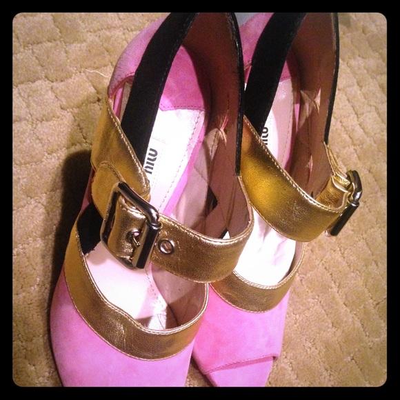 5052c977460d Miu Miu Pink Toe Cut Ankle Strap Heels