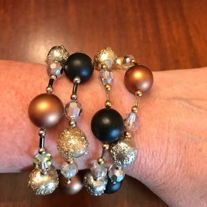 Vintage Vendome Crystal & Beaded 4 Strand Bracelet