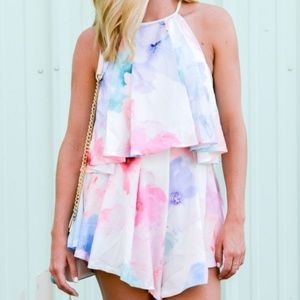 Tiger Mist watercolor sweet heart playsuit romper