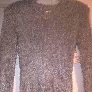 Faded Glory Silver Gray Plush Girls Sweater