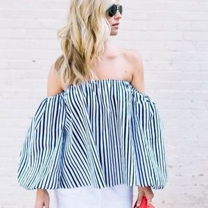 Chicwish blithe bubble stripe off-shoulder top