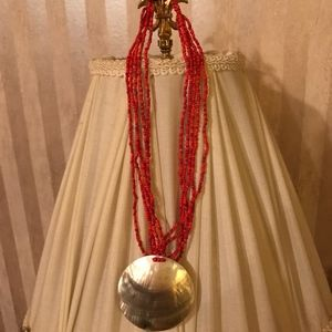 Jewelry - Coral Beaded Shell Medallion Necklace