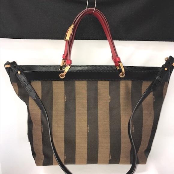 1125ae77497b Fendi Handbags - FENDI Brown Pequin Striped Shoulder Tote Bag- Red