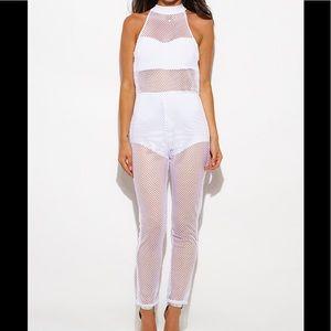 Other - White fishnet bodysuit