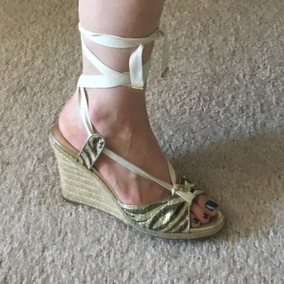 0f6a43b5d222 Guess Shoes - Guess 9 espadrille wedge sequin camo tie up heels