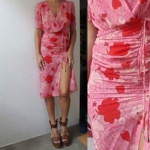 Dresses & Skirts - Stunning silk floral wrap slit shirt midi dress 4