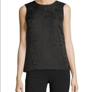 NWT Theory black Jaquard rose top small