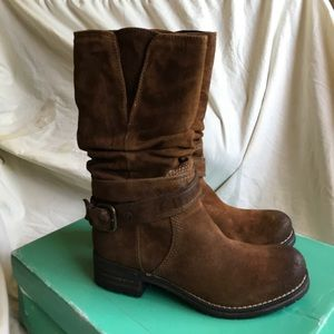 Shoes - Clarks Suede Mid-Calf Buckle Boots