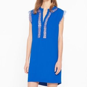SOLD OUT Sandro RubberLace Trimmed Crepe MiniDress
