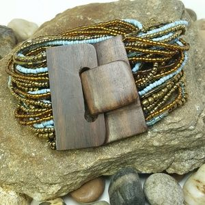 Jewelry - Bali Hand Crafted Boho Wooden Clasp Bead Bracelet