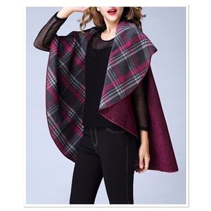 Plaid Reversible Poncho
