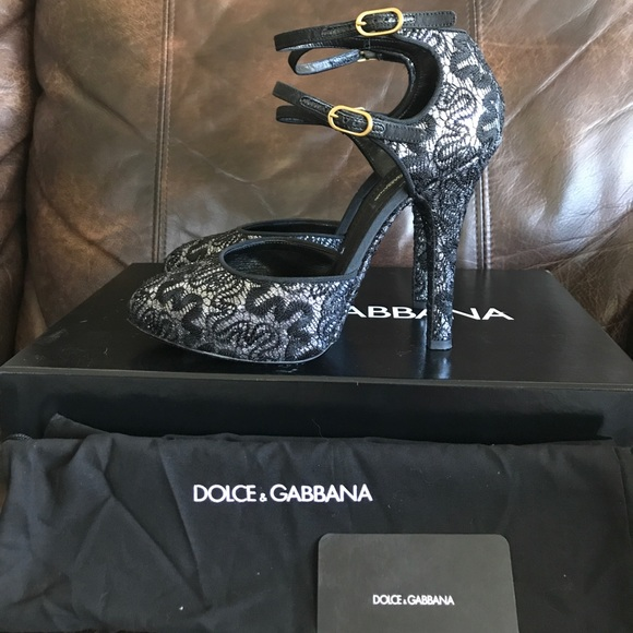 Dolce   Gabbana Shoes   Sold Dolce Gabbana Black Lace And Silver ... 738e439c16