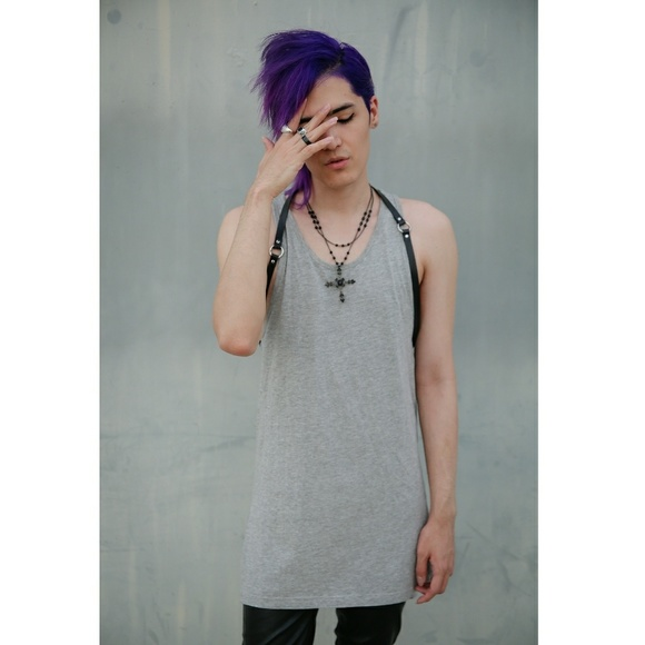 Forever 21 Other - Heather Grey Extra Long Cut Tank Top Mens XS Small