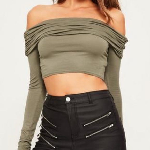 b520f05e6af Missguided Tops | Khaki Ruched Bardot Crop Top | Poshmark