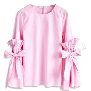 Cotton Candy Punk Trumpet Bow Sleeve Blouse S/M