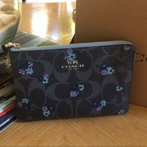 Coach Wristlet in Blue and Purple Floral