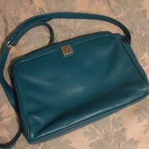 Vintage Teal Leather Crossbody Bag