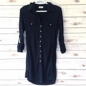 Ultra Flirt Black Button-Down Shirt Dress