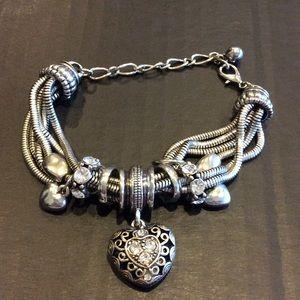 Jewelry - Silver Rhinestone Dangle Heart Bracelet