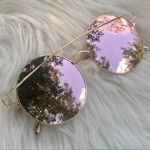 Rose Gold Mirror Tint Round Oversized Sunglasses