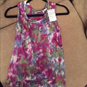 Silk tie dye tank. Blue, purple and green