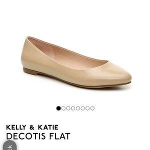 Kelly & Katie Beige Pointed Toe Flats