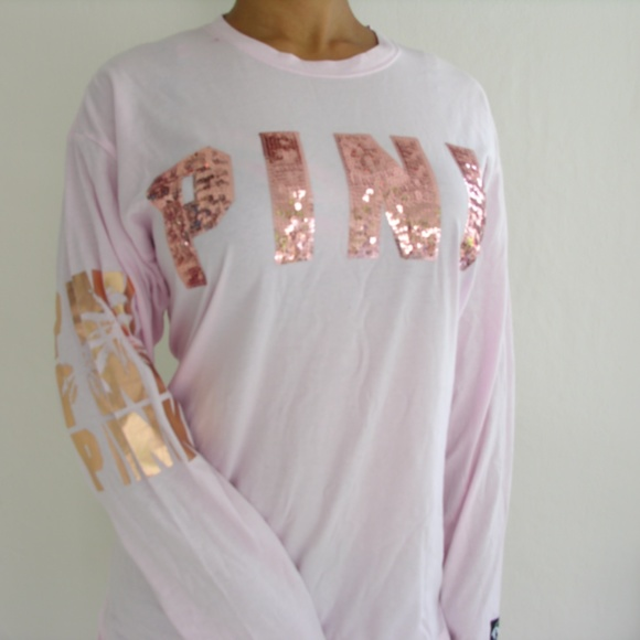 Victorias Secret PINK Bling Campus Long Sleeve Tee 2dc08e499