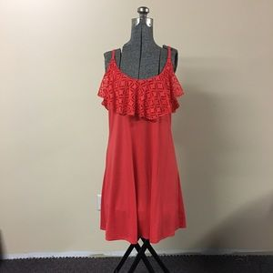 Coral Dress Ruffled Neckline XL Extra Large