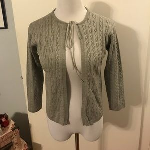 Katayone Adeli grey cable knit cardigan sweater