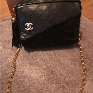 Black authentic Vintage Chanel camera bag