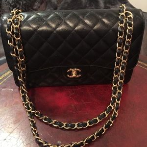 New Chanel Quilted Jumbo Double Flap Shoulder Bag