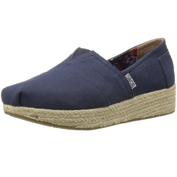 19fb1fd034da8 Skechers Shoes | Bobs Highlights Wedge Canvas Navy | Poshmark