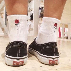Brandy Melville Accessories - Brandy Melville rose Embroidered socks