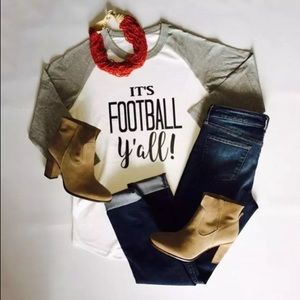 It's Football Y'all 3/4 Sleeve Graphic Tee T Shirt