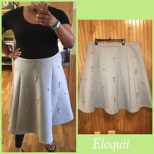 Eloquii Rhinestone Scuba Midi Skirt Sz 22