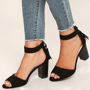 Black Suede Tassel Heels Size 6.5