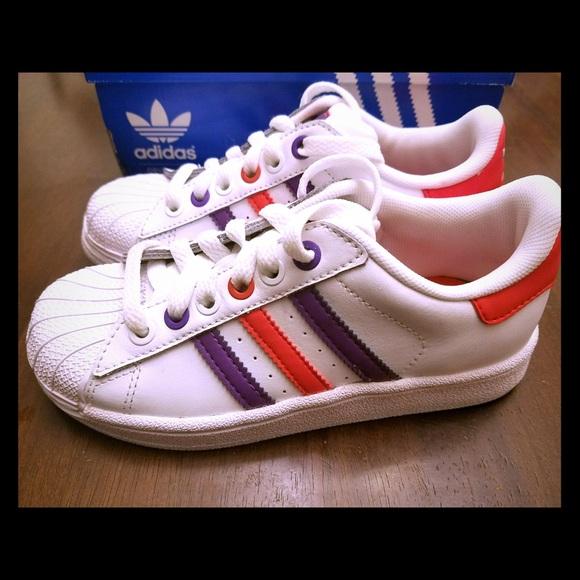 Adidas Kids Originals White/Purple/Red Shoes 13K