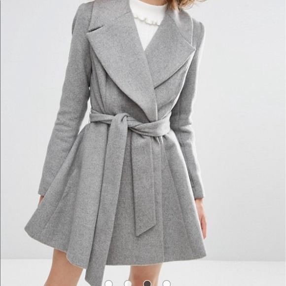 56% off Asos Jackets & Blazers - Asos Skater Wool Coat Gray Grey ...