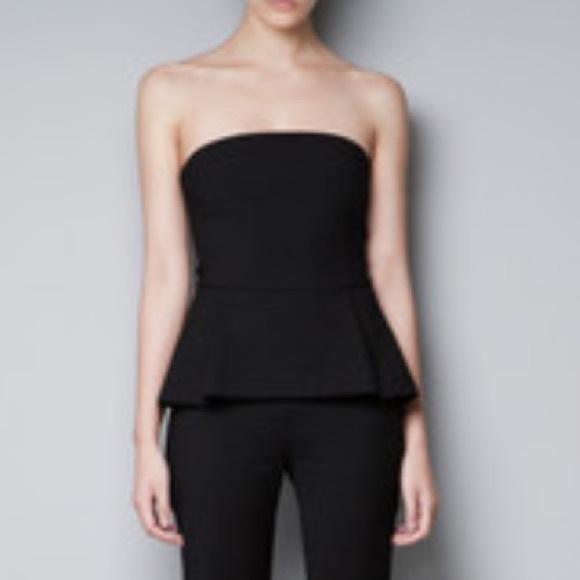 dc40087ade Zara Knit Black Sleeveless Knit Peplum Tube Top. M 597c2871a88e7d1c0e05e824